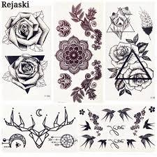 черная треугольная роза цветок фальшивая временная татуировка