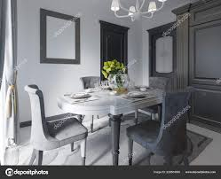Luxury Black Dining Room Dark Furniture White Marble Floor Day