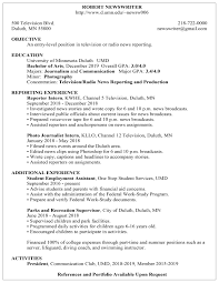 Sample Employment Resume Resume Examples Career Internship Services Umn Duluth