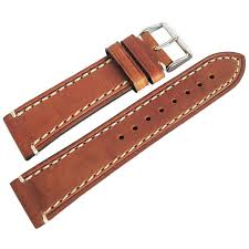 22mm hirsch liberty mens gold brown tan leather contrast stitch watch band strap
