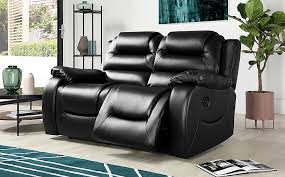 vancouver black leather 2 seater