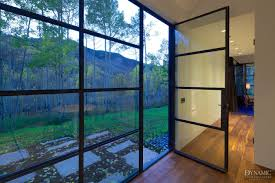 modern steel door and window wall