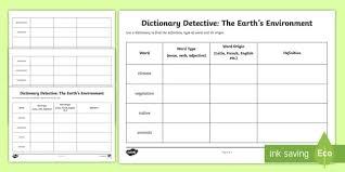 Word Origin The Earths Environment Word Origins And Meanings Worksheet