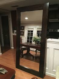 diy large standing floor mirror from s wood and old closet mirror door