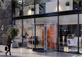 the besam all glass rd3t and rd4t revolving doors come complete with a led glass