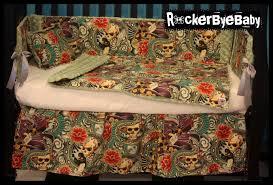 amazing baby nursery room decoration using punk baby crib bedding interesting colorful skull 4 piece
