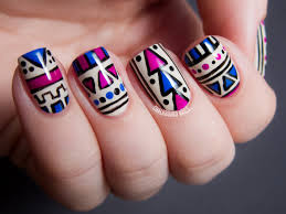 Fuchsia and Cobalt Tribal (Matte vs. Glossy) | Chalkboard Nails ...