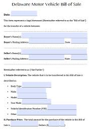 bill of sale form for auto free delaware motor vehicle dmv bill of sale form pdf word doc