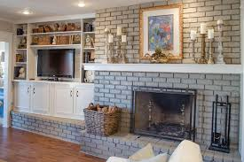 Light Grey Painted Brick Fireplace 32 Ways To Refresh A Brick Fireplace