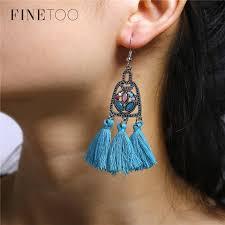 2018 vintage antique silver crystal fringe tassel chandelier earrings for women girls boho geometric drop dangle earrings penntes from milknew