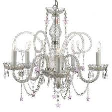 5 light venetian style empress crystal chandelier with pink crystal stars