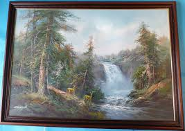 r danford deer in forest landscape waterfall large oil painting in frame signed 1 of 8free