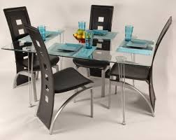 contemporary glass top dining room sets. Metal Base Glass Top Dining Table And Contemporary High Back Chairs Of Modern Black Room Set Sets D