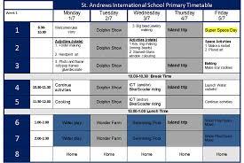 Summer Camp Weekly Schedule Weekly Timetable Junior St Andrews International School Summer Camp