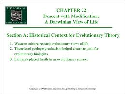 Darwin S Theory Of Evolution Chart Pearson Chapter 22 Descent With Modification A Darwinian View Of
