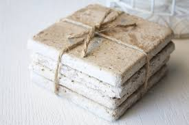 Natural Stone Tile Coasters by RedGiraffeDesigns on Etsy, $12.00