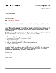 finance graduate cover letter cover letter position