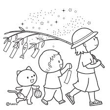 七夕飾り付けをした笹の葉を持ち歩く子どもたちのイラストぬりえ