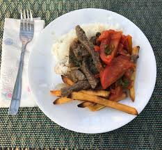 homemade lomo saltado for a project in spanish class my