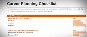 career plan free career planning checklist template for excel 2013