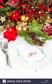 Candle Light Dinner Table Setting Christmas Table Place Setting Decoration In Red And Gold