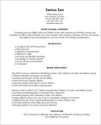 Nursing Skills Resume 14 Resume Templates Labor And Delivery Nurse
