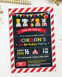 Carnival Birthday Invitations Details About Circus Invitation Carnival Birthday Party Supplies Invite Chalkboard Boys Girls