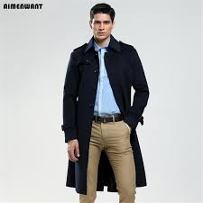 aimenwant 2018 single ted woolen coat mens tailor made 65 wool long jacket england business woolen coat custom pea coat mans coats cream leather