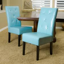 blue leather dining room chairs. Set Of 2 Dining Room Teal Blue Leather Chairs W Chair Pads