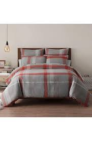 ugg winter gray red plaid duvet cover