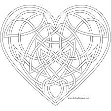 Small Picture Knotwork heart coloring page also available as a transparent PNG