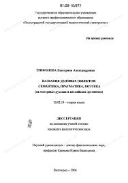 Диссертация на тему Названия деловых объектов семантика  Диссертация и автореферат на тему Названия деловых объектов семантика прагматика поэтика