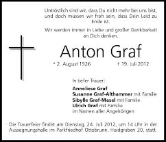 Anton Graf   Traueranzeige   trauer.inFranken.de