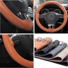 circle cool luxury style brown leather with brown stitch steering wheel wrap cover medium 14 25 to