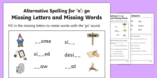 Includes differentiated support and independent sheets. Gn Grapheme Missing Words Phase 5 Alternative Spelling Worksheet Worksheet