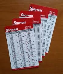 Machinist Conversion Chart Details About 10 Pack Starrett Machinist Pocket Cards Tap Drill Metric Conversion Charts