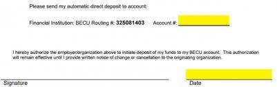 Direct Deposit Verification Free Becu Direct Deposit Authorization Form Pdf