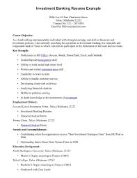 Resume Examples Best Good Career Objective For Investment Banking Resume  Example