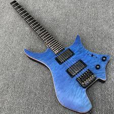 New Style Headless Electric Guitar with Quilted Maple top, Satin ... & New Style Headless Electric Guitar with Quilted Maple top, Satin finish Blue  color, Black Adamdwight.com