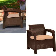 Outdoor dining armchair with cushion brown plastic weather resistant lightweight large square resin heavy duty patio chair garden backyard patio furniture