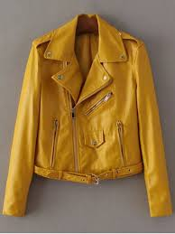 best lapel collar zippers faux leather jacket yellow xs