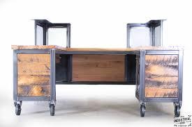 reclaimed wood steel reception desk