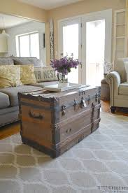 farmhouse living room ideas. 5. large antique steamer trunk coffee table farmhouse living room ideas
