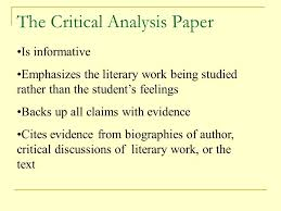 the critical analysis literary research paper an essential part of  2 the