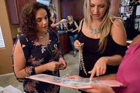 host courtney broadbent everard left helps jenelle gives pick out some plunder jewelry