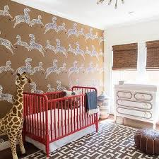 Brown And Red Nursery With Red Jenny Lind Crib View Full Size. Stunning  Nursery With Scalamandre Zebra Print Wallpapered ...