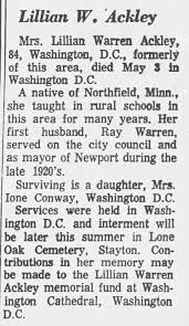 Lillian Rhodes Chase Warren Ackley obituary - Newspapers.com