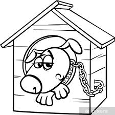 Sticker Droevige Hond In Kennel Kleurplaat Pixers We Leven Om