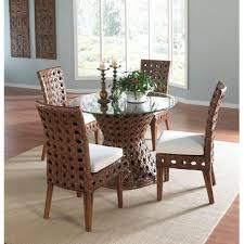 nassau indoor 5 piece rattan and wicker dining set with four side chairs and round base