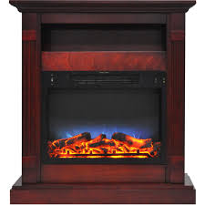 cambridge sienna 34 in electric fireplace with multi color led insert and cherry mantel